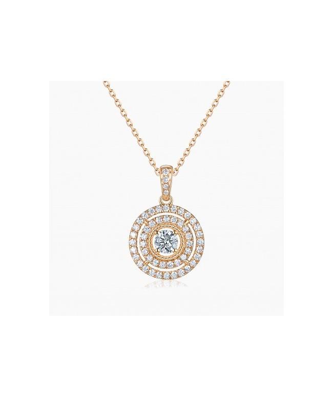 Collier Illusion Or Rose 18K diamants | Djoline