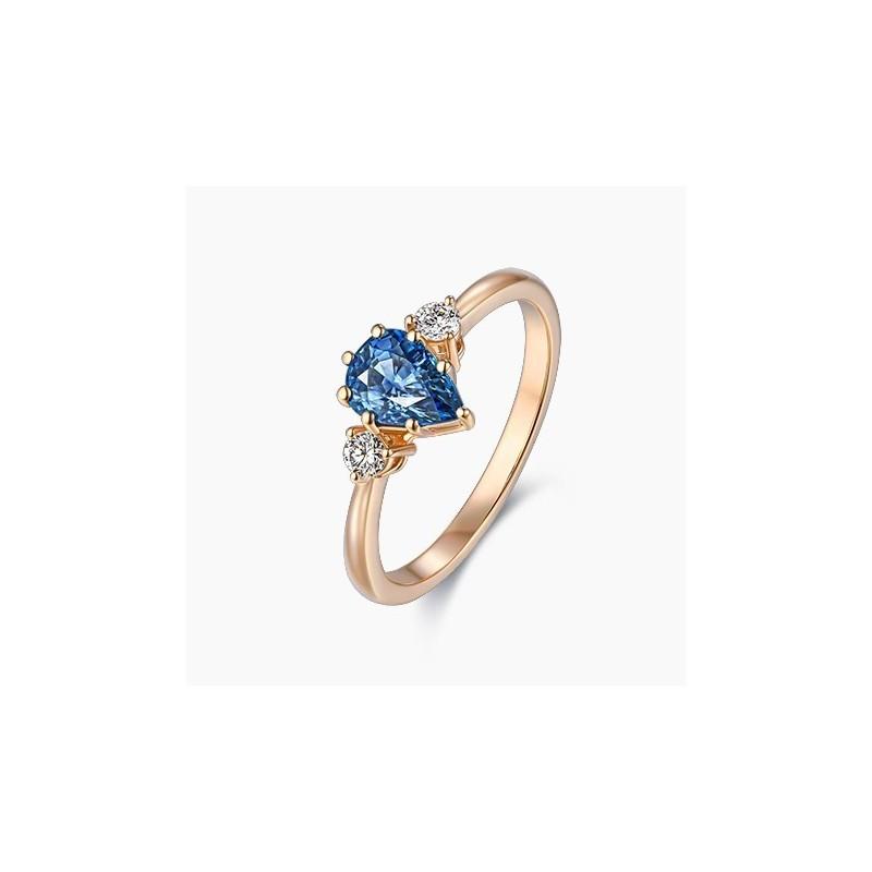 Bague Fiançailles Romane Saphir bleu Or Rose 18K | Djoline