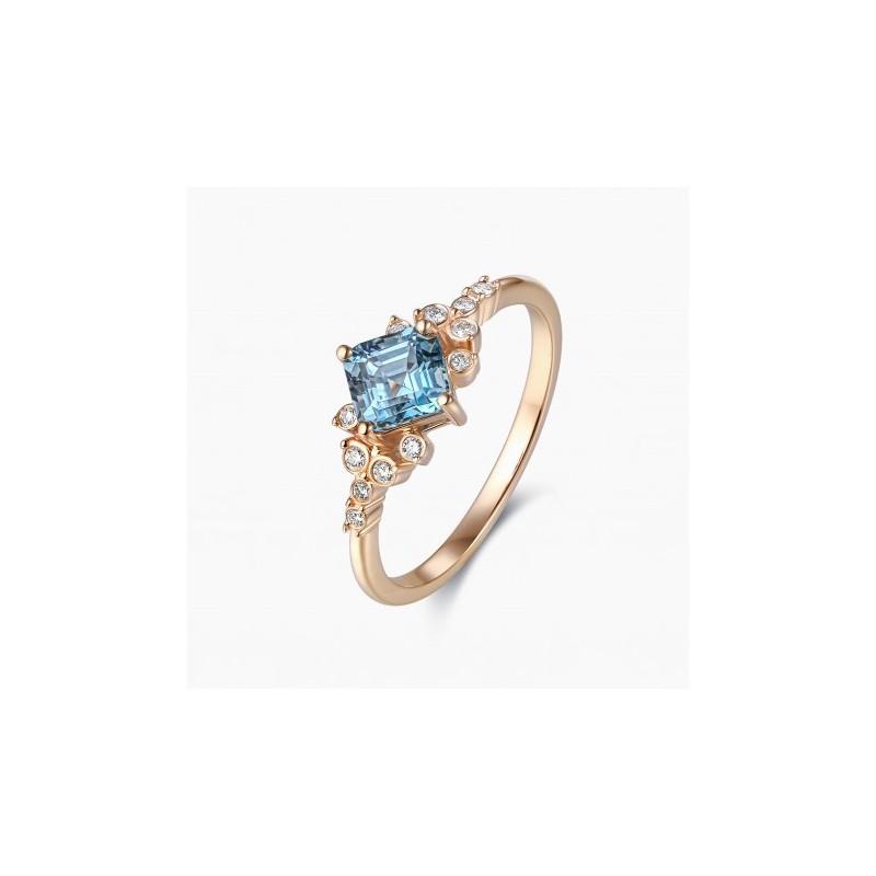 Bague de Fiançailles Iris Saphir bleu Or Rose | Djoline
