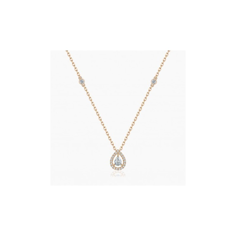 Collier My Tresor Or Rose 18K diamants poires | Djoline