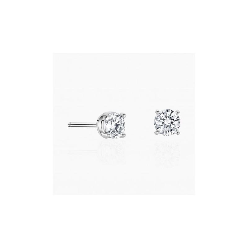 Boucles d'oreilles Eternity Or Blanc diamants | Djoline