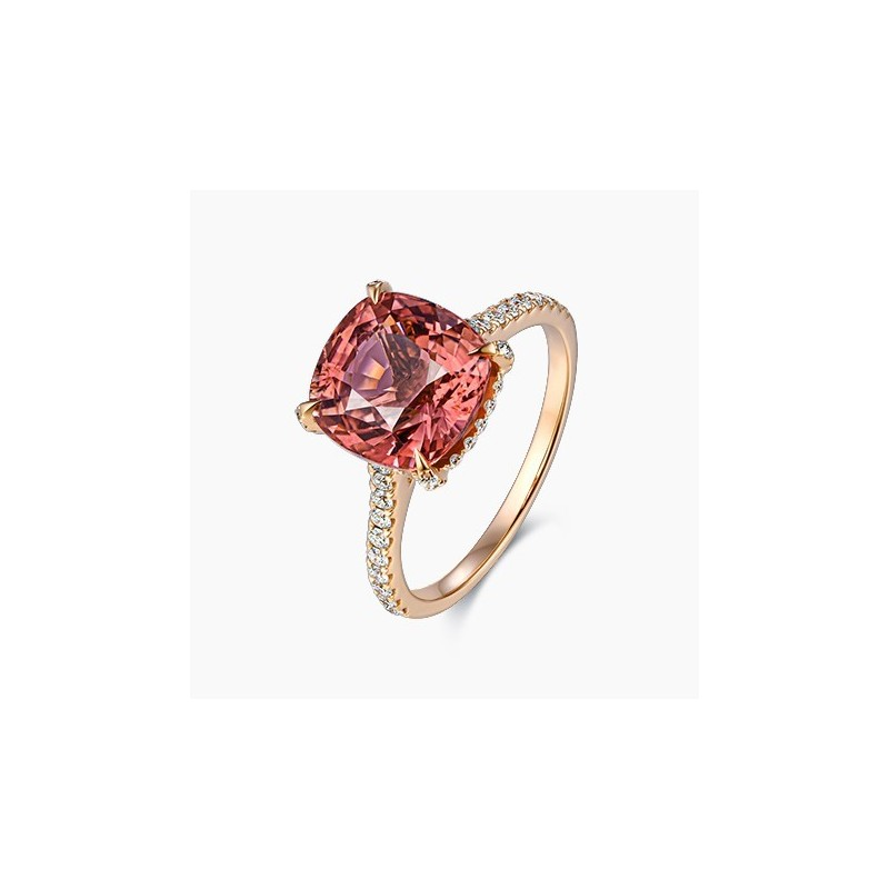 Bague Solitaire Laura Tourmaline rose  Or Rose | Djoline