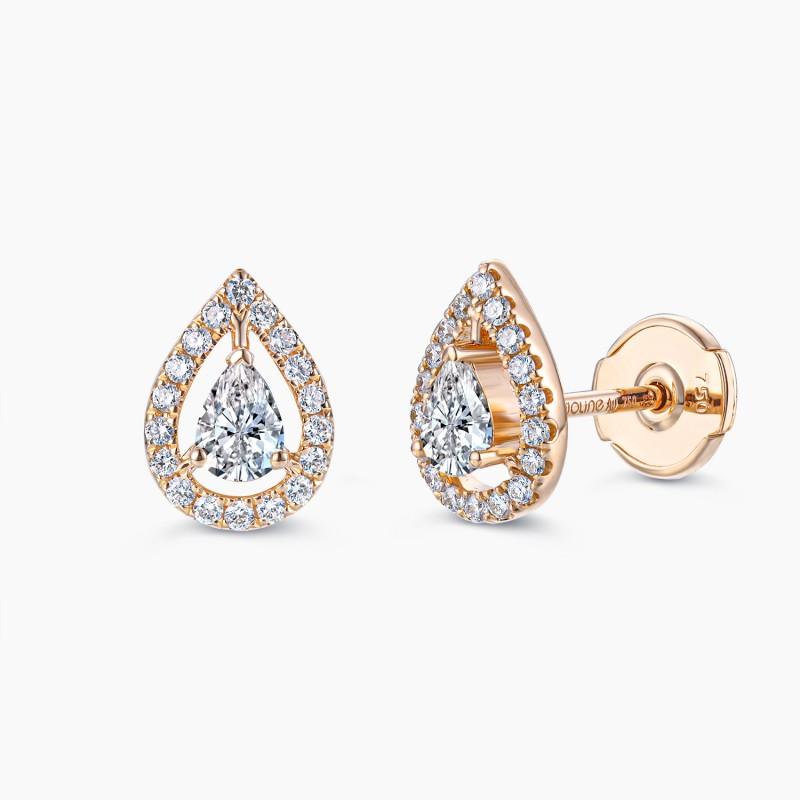Boucles d'oreilles My Tresor Or Rose 18K diamants | Djoline