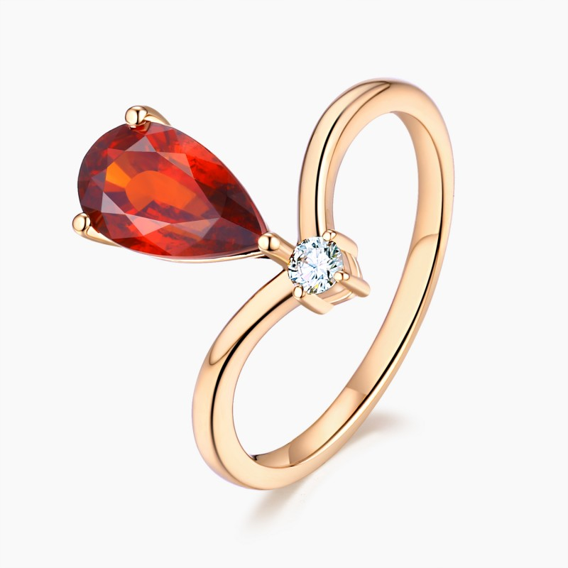Bague Passion Or Grenat Diamants   Djoline Joailliers