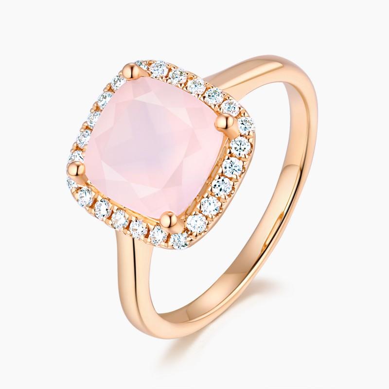 Bague Sweet Pink Or Quartz Rose Diamants | Djoline