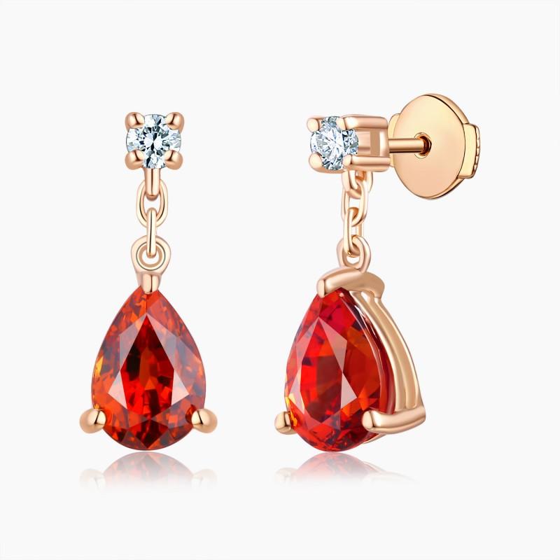 Boucles d'oreilles Passion Or Grenat Diamants   Djoline