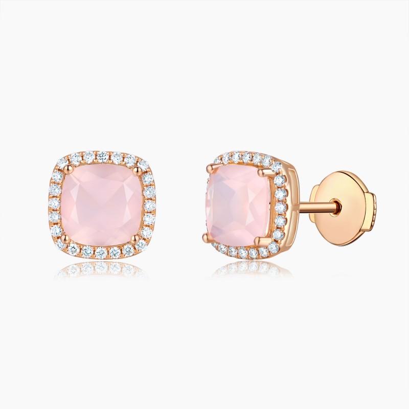 Boucles d'oreilles Sweet Pink Or Quartz Diamants | Djoline