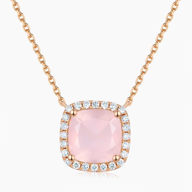 Collier Sweet Pink Or Quartz Diamants | Djoline Joailliers