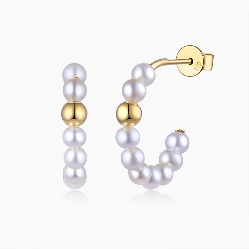 Boucles d'oreilles Créoles Athénée Or jaune Perles | Djoline