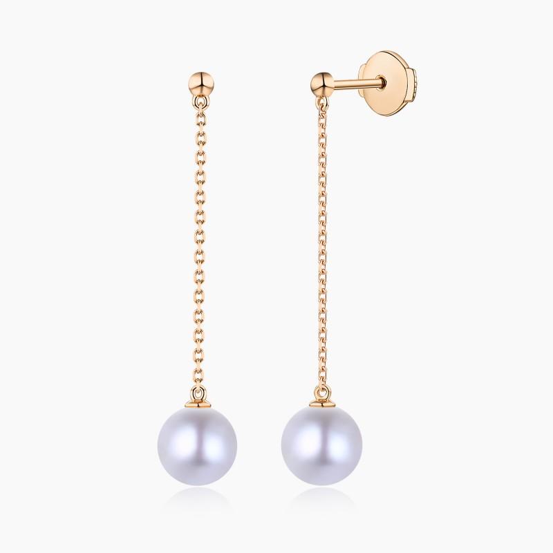 Boucles d'oreilles pendantes Akoya Or Rose 18K | Djoline