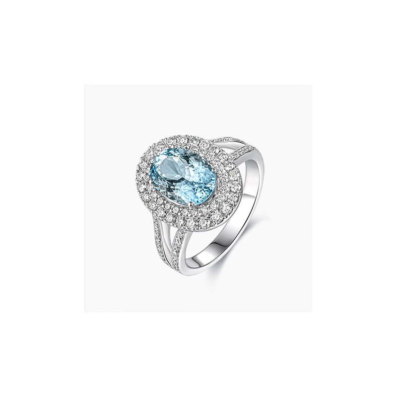 Bague Océane Aigue Marine Or Blanc 18K diamants | Djoline