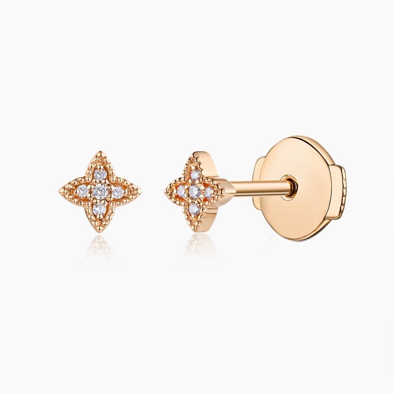 Boucles d'oreilles Fleur GM Or jaune 18K diamants | Djoline