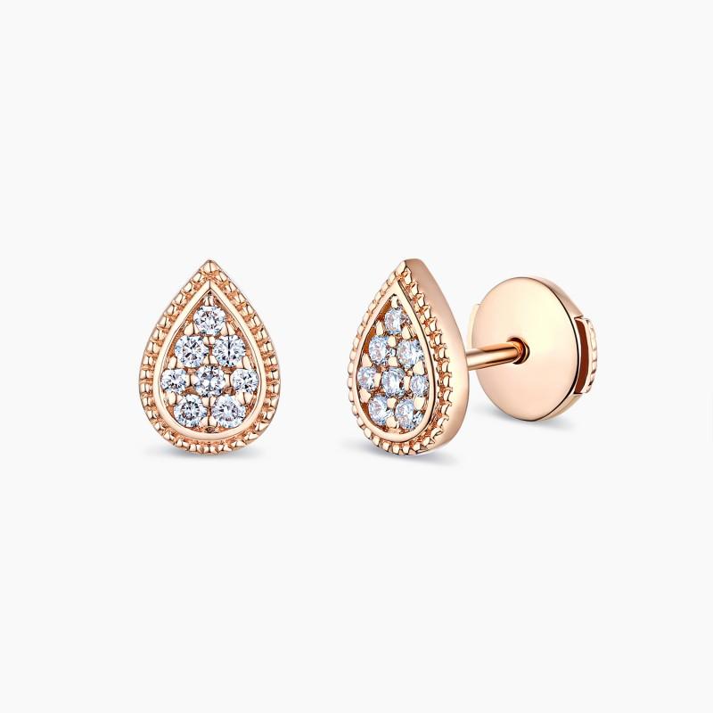 Boucles d'oreilles Zélie Or rose 18K diamants | Djoline